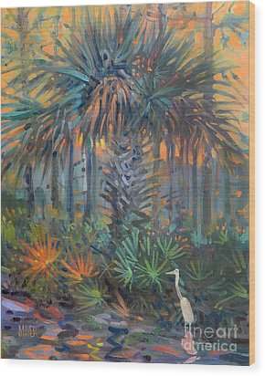 Palm And Egret Wood Print by Donald Maier