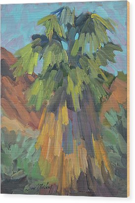 Wood Print featuring the painting Palm At Santa Rosa Mountains Visitors Center by Diane McClary