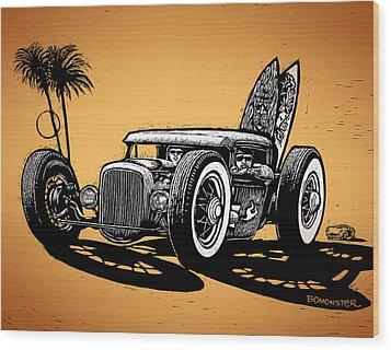 Palm Beach Wood Print by Bomonster