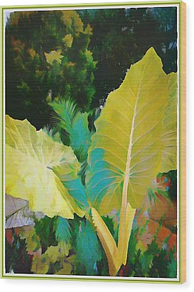 Wood Print featuring the painting Palm Branches by Mindy Newman