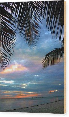 Palm Curtains Wood Print by Susanne Van Hulst