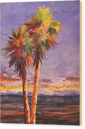 Palm Duo Wood Print by Anne Marie Brown