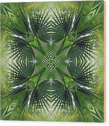 Palm Frond Kaleidoscope Wood Print by Francesa Miller