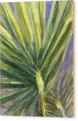 Palm Frond Wood Print by Marilyn Barton