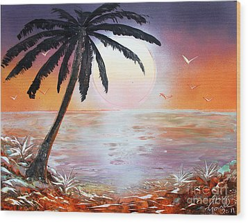 Wood Print featuring the painting Palm by Greg Moores