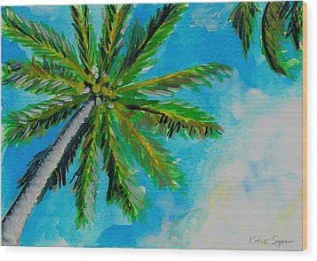 Palm In The Sky Wood Print