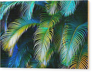 Palm Leaves In Blue Wood Print
