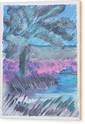 Palm Of The Night Wood Print by Judy Loper