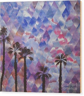 Palm Springs Sunset Wood Print by Jeni Bate