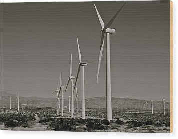 Palm Springs Windmills I In B And W Wood Print by Kirsten Giving