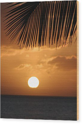 Palm Sunset Hawaii Wood Print by Dustin K Ryan