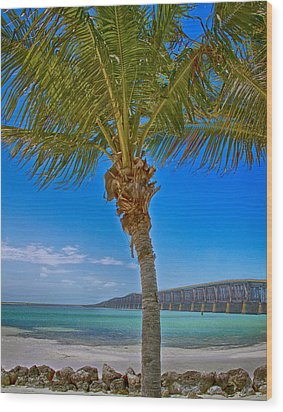 Wood Print featuring the photograph Palm Tree Bridge And Sand by Paula Porterfield-Izzo