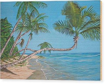 Palm Tree Wood Print by Edward Maldonado