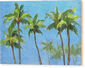 Wood Print featuring the painting Palm Tree Plein Air Painting by Karen Whitworth