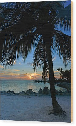 Wood Print featuring the photograph Palm Tree Sunset by Stephen  Vecchiotti