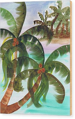 Palm Trees Breeze Wood Print by Cheryl Fox