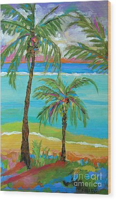 Palm Trees In Landscape Wood Print by Karen Fields