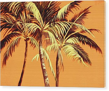 Palm Trees In Sepia Wood Print