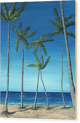 Wood Print featuring the painting Palm Trees On Blue by Anastasiya Malakhova