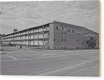 Palmetto Compress Warehouse Bw Wood Print