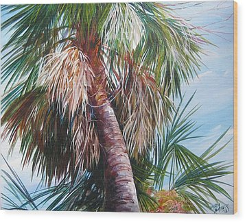 Wood Print featuring the painting Palmetto In Acrylics by Gloria Turner
