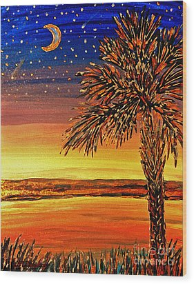 Palmetto Sunset  Wood Print by Patricia L Davidson