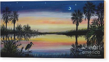Palmetto Tree And Moon Low Country Sunset Wood Print by Patricia L Davidson