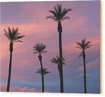 Wood Print featuring the photograph Palms At Sunset by Phyllis Kaltenbach