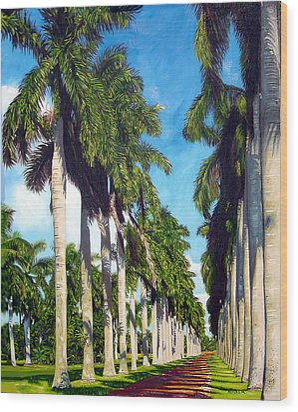 Palms Wood Print by Jose Manuel Abraham