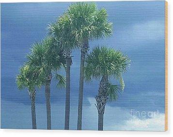 Palmy Skies Wood Print
