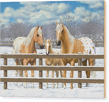 Palomino Appaloosa Horses In Snow Wood Print by Crista Forest