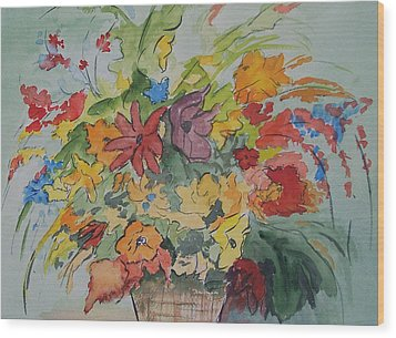 Pams Flowers Wood Print by Robert Thomaston