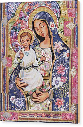 Wood Print featuring the painting Panagia Eleousa by Eva Campbell