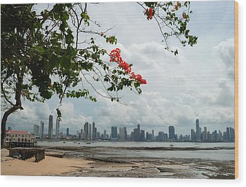 Panama City Downtown Wood Print by Iris Greenwell
