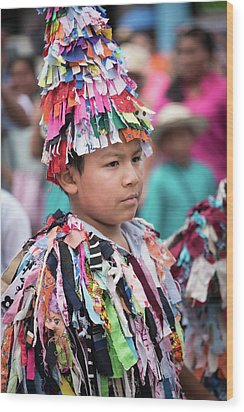 Panamanian Boy In Traditonal Costume Wood Print