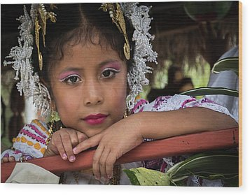 Panamanian Girl On Float In Parade Wood Print