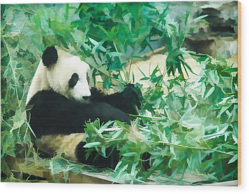 Wood Print featuring the painting Panda 1 by Lanjee Chee