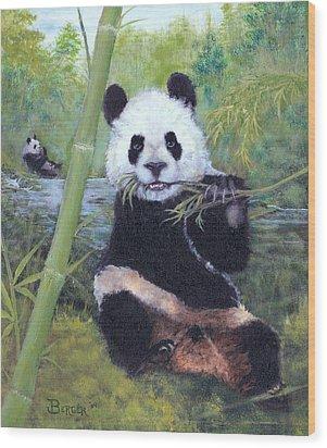 Panda Buffet Wood Print