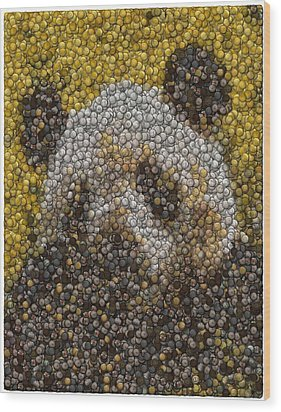 Wood Print featuring the digital art Panda Coin Mosaic by Paul Van Scott