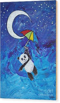 Panda Dreams Wood Print by Ella Kaye Dickey