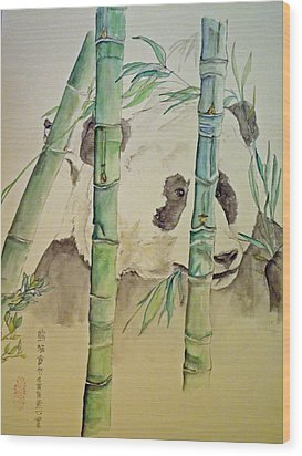 Wood Print featuring the painting Panda Eating  by Debbi Saccomanno Chan