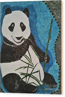 Wood Print featuring the painting Panda by Jasna Gopic