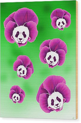 Panda Pansies Wood Print