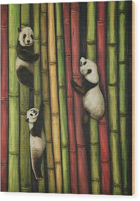 Pandas Climbing Bamboo Wood Print by Leah Saulnier The Painting Maniac