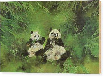 Pandas  Wood Print by Odile Kidd