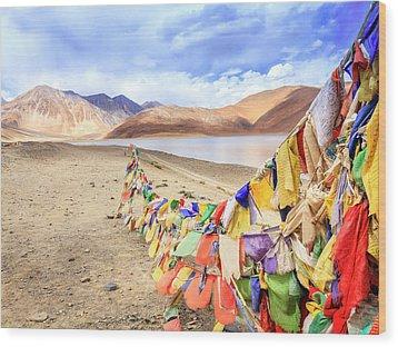 Wood Print featuring the photograph Pangong Tso Lkae by Alexey Stiop