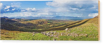 Panorama Of A Colourful Undulating Irish Landscape In Kerry Wood Print by Semmick Photo