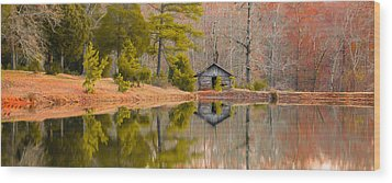 Panorama Of Cabin By The Lake Wood Print by Shelby  Young