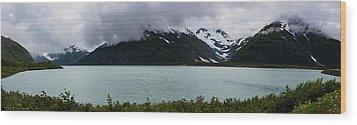 Panorama Of Cold Lake Wood Print