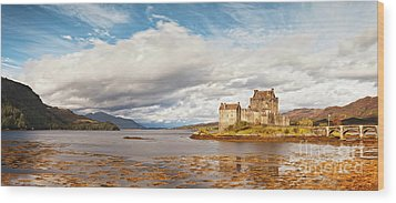 Panorama Of Eilean Donan Castle Scotland Wood Print by Colin and Linda McKie